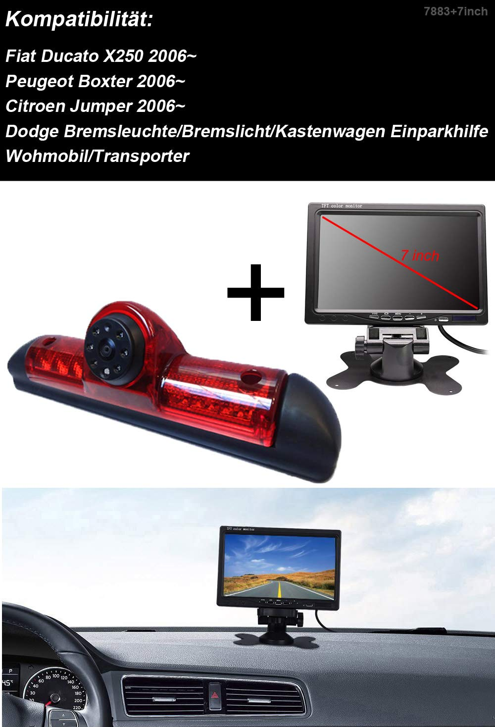 Klakus-Auto-Dach-Top-Mount-Bremsleuchte-Kamera-Bremslicht-Rckfahrkamera-fr-Fiat-DucatoPeugeot-BoxerCitroen-JumperDodge7Zoll-DVD-Monitor-TFT-Bildschirm-LKW-KFZ-LCD-Display