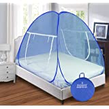 Backbone Mosquito Net Foldable King Size (Double Bed) with Free Saviours - (Blue)