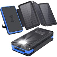 xiyihoo Powerbank Solar 26800mAh, Solar Ladegerät Wireless mit 3 Solarpanel, Kompatibel Qi-fähige Telefone & Dual Ports…