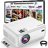 Projektor, GROVIEW Mini Beamer, 6000 Lux Video Beamer, stöder 1080P, 240-tums skärm bärbar projektor, med 5,0 Bluetooth, komp
