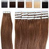 55cm Extension Capelli Veri Adesive - 50g 20Fasce #06 Castano Scuro - 100% Remy Tape in Human Hair Lisci Naturali
