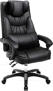 Songmics Luxe bureaustoel met opklapbare hoofdsteun, extra grote orthopedische managersstoel, ergonomische bureaustoel, zwar