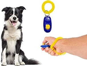 Sage Square Pet Training Clicker with Wrist Strap for Dog, Cat, Kitten, Puppy, Birds (Blue)