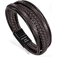 murtoo Homme Cuir Véritable Bracelet et Acier Inoxydable Bracelet Multi Tissé Réglable Noir ou Marron Cuir Bracelet pour…