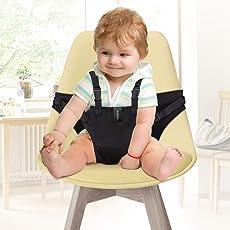 Yissvic Tragbare Hochstuhl Babysitz Esszimmerstuhl Sicherheitsgurt für Baby Kleinkind schwarz