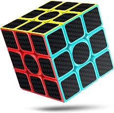 CFMOUR Cubo Rubik, 3x3x3 in Fibra di Carbonio Adesivo Liscio Magia Rubiks 3D Puzzle Cube, Versione Migliorata, 5.7cm (Nero)