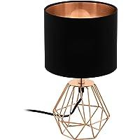 EGLO Lampe de table CARLTON 2, 1 lampe à poser vintage à flamme, lampe de chevet en acier et en tissu, couleur : cuivre…