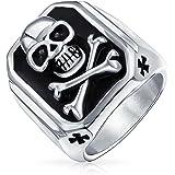Bling Jewelry Mens Black Caribbean Pirate Skull And Cross Bones Rectangle Signet Ring for Men Silver Tone Acciaio Inossidabil