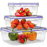 Home Fleek - Boite Alimentaire en Verre Rectangulaire | Hermétique | sans BPA (Lot de 3, Bleu)