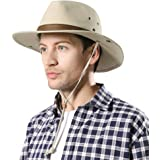 Comhats Unisex UPF 50 Safari Fedora for Men Summer UV Protection Wide Brim Bush Hat Fishing Hiking Womens Beach Sun Hat Cotto