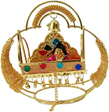 Vraj Collection Stunning Multicolor Krishna Ji Jhula with Eye-Catching Golden Beads Design-Size(10x11x5.5 cm)-Golden Color