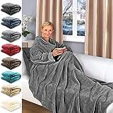 Gräfenstayn® TV-Decke mit Ärmeln und Fuß Tasche - 200 x 170 cm Kuscheldecke - viele Farben - Supersoft Flanell Mikrofaser-Fla