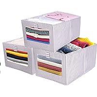 SUPRBIRD Boîtes de Rangement en Non-Tissé Pliables, Pack de 3 Cube de Rangement Tissu, Caisse de Rangement en Tissu avec…