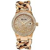 So&Co New York Women's 5083.3 Soho Quartz Crystal Filled Date 16K Rose Tone Chain Link Bracelet Watch, Pink Band, Analog Disp