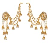 Priyaasi 18K Gold-Plated White Beaded Handcrafted Bahubali Devsena Jhumkas With Ear Chain For Women