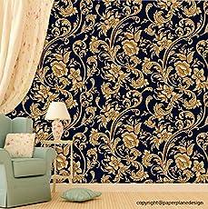 Paper Plane Design Premium Self Adhesive Sticker Wallpaper. Theme - Golden Flowers