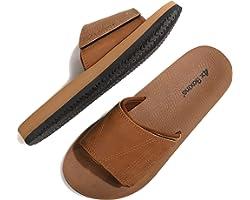 ARRIGO BELLO Mens Sliders Hook&Loop/Latex Sole Sandals Leather Non-Slip Flip Flops Summer Slippers Beach Outdoor Indoor Size