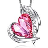 CDE Love Heart Pendant Necklace for Women Silver Tone Rose Gold Tone Crystal Birthstone هدايا مجوهرات عيد الميلاد / الذكرى ال