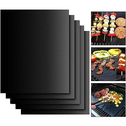 EXTSUD BBQ Griglia Tappetini 40x33cm Set 5 Pz Stuoie Barbecue Antiaderente Riutilizzabili Senza-PFOA Resistente al Calore per Griglia a Carbone Gas Weber Forno Elettrico Adatto per Carne Pesce Verdure