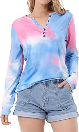 OUGES Women's Long Sleeve Round Neck Patchwork Casual Shirt Tops