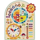 Tooky Toy Zegar kalendarzowy, zegar roczny – zabawka dla dzieci – zabawka drewniana do nauki – zegar – pory roku – pogoda z d