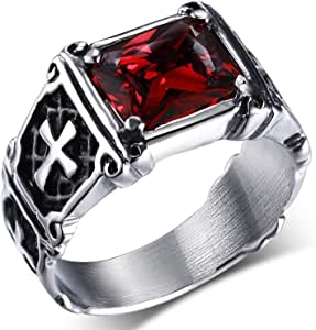 MENDINO - Anello in acciaio inossidabile con zircone di cristallo rosso rubino, intarsio vintage con croce celtica, per uomo o donna, con sacchetto di velluto