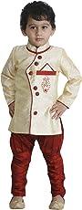 JBN Creation Boys' Cotton Silk Kurta and Pyjama Set (Beige_VASBSW002)