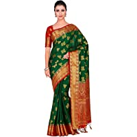 Women's Art silk Wedding saree Kanjivarm Pattu style with Contrast Blouse (Colour: Green, 4298-321-2D-BGRN-RD)