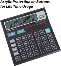 SaleOn™ CT-512 12 Digit Financial and Business Calculator with Acrylic Protected on Buttons,(Black)-751