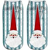 Bellelove Chaussettes de Noël unisexe Snow 3D drôle bonhomme de neige Santa Claus Print Fashion chaussettes décontractées imprimées