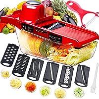 Trancheuse Mandoline multifonctionnelle,coupe-légumes,broyeur de nourriture,hachoir à râpe,6 lames tranchantes en acier…
