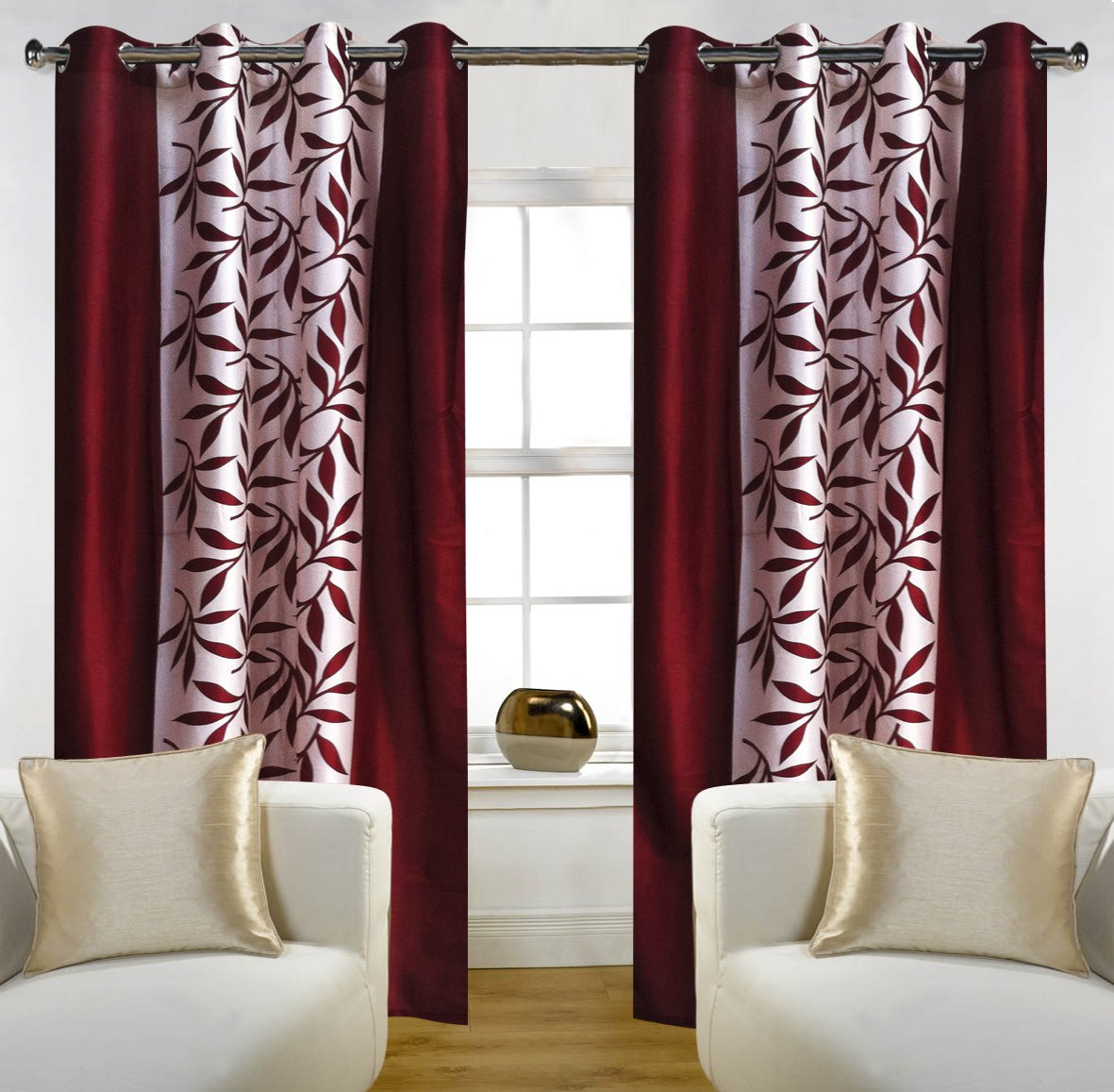 Buy best luxury curtains in india curtains india - Buy Home Candy Eyelet Fancy 2 Piece Polyester Door Curtain Set 84 X48 Maroon Online At Low Prices In India Amazon In