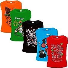 Kiddeo Boys Cotton Sleeveless T-Shirt - Pack of 5
