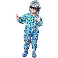 LIVACASA Unisex Tuta Impermeabile Bambino Poncho Antipioggia Bambina con Cappuccio Leggero con Stampato per Bambini 1-7…