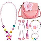 Mädchen-Handtasche,Comius Sharp Kinderschmuck Kleine Mädchen Plüsch-Handtasche, mit Halskette Armband Ring und Ohrring Schmuc