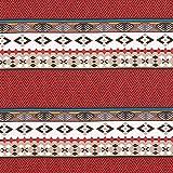 Fabulous Fabrics Halb Panama Dekostoff Azteke - blau/rot -