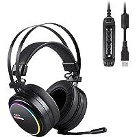 AUKEY Casque Gamer avec Son Surround 7.1 Virtuel Casque PS4 Gaming USB Stéréo Effets LED RGB Casque Audio avec Micro pour Ordinateurs et PS4- Noir
