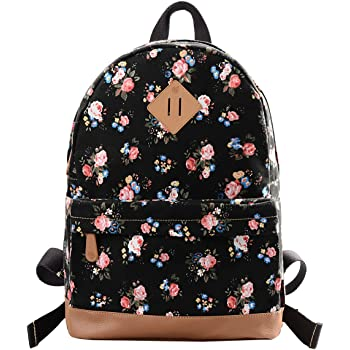 95f222194f36 Douguyan Women s and Girl s Backpack Canvas Toddler Backpack School Bags  Casual Daypacks Toddler Backpack E00133 Black Peony