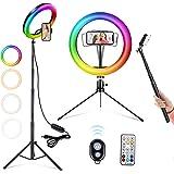 """Anillo de Luz LED, ACTION 10"""" Aro de Luz para Movil con 2 Trípodes, 26 RGB Colores Regulable, Control Remoto Bluetooth, 9 Niv"""