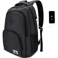 YAMTION Laptop Rucksack Schule Rucksack für 15.6 Zoll Laptop Schulrucksack mit USB-Ladeanschluss für Arbeit Wandern…