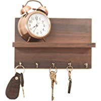 Kanantraders Metvan Wooden Shelf Key Holder (25 x 11 x 0.3 cm, Brown)