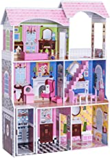 """Costzon 46"""" Dollhouse, 3 Levels House with Furniture Gliding Elevator Rooms, Pink"""