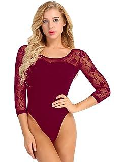 Freebily Maillot de Bain Femme Justaucorps de Danse Ballet Gym Body  Camisole Taille Haut Femme Tutu d2c7d76a53e