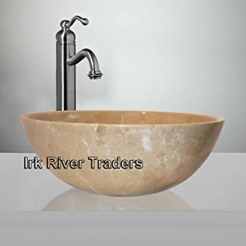 Natural Marble Stone Basin Sink Bathroom Cloakroom Counter Top Vessel  Vanity Wash Bowl Bath Countertop Sink Deep Round 12