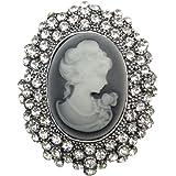 TOOKY Spilla gioiello di resina di cristallo dell'annata del cammeo della regina Lady per il matrimonio
