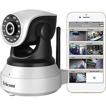 sricam SP017 Telecamera di Sorveglianza 720P Wireless, Obiettivi Ruotabile, Audio Bidirezionale, Modalità Notturna a Infrarossi, Controllo Remoto, Compatibile con iOS e Android e PC