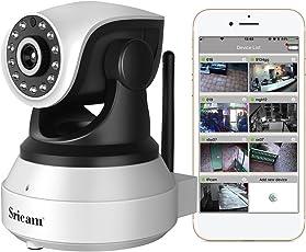 Sricam SP017 Telecamera di Sorveglianza 720P Wireless IP camera, Obiettivi Ruotabile, Audio Bidirezionale, Modalità Notturna a Infrarossi, Controllo Remoto, Compatibile con iOS e Android e PC