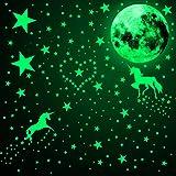 466 Piezas Calcomanías de Pared de Unicornio Brillan en la Oscuridad Pegatinas Luminosa de Luna Estrella Punto Calcomanías de
