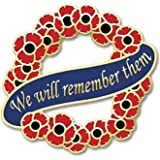 Insignia con texto en inglés «We will remember them»