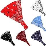 Bandana con motivo paisley, 6 pezzi, per donne, con fascia elastica, da yoga, regolabile, turbante
